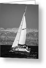 Santorini Sail Greeting Card by Leslie Leda
