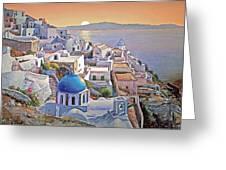 Santorini Sunrise Greeting Card by Joseph Hendrix
