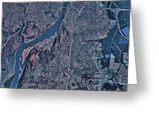 Satellite View Of Little Rock, Arkansas Greeting Card by Stocktrek Images