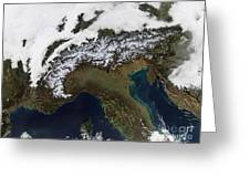 Satellite View Of The Alps Greeting Card by Stocktrek Images