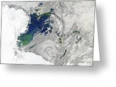 Satellite View Of The Ross Sea Greeting Card by Stocktrek Images