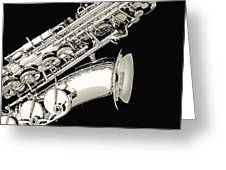 Saxophone Black And White Greeting Card by M K  Miller