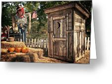 Scared Outhouse Greeting Card by Vincent Cascio