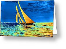 Schooner Ariel's Golden Sails 1899 Greeting Card by Padre Art