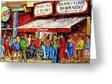 Schwartzs Deli Lineup Greeting Card by Carole Spandau