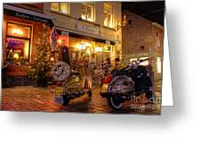 Scooters At The Bistro Greeting Card by Rob Hawkins