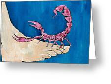 Scorpion On A Foot Greeting Card by Fabrizio Cassetta