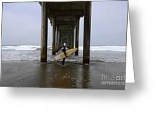Scripps Pier Surfer Greeting Card by Bob Christopher