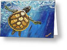 Sea Turtle Takes A Breath Greeting Card by Lisa Kramer