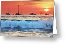Sea Waves At Sunset Greeting Card by Teerapat Pattanasoponpong