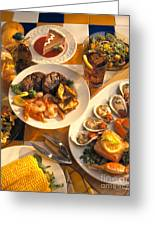 Seafood And Steak Buffet Dinners Greeting Card by Vance Fox