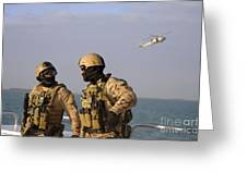 Seals Aboard A Rigid-hull Inflatable Greeting Card by Stocktrek Images