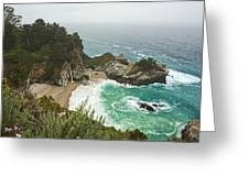 Seascape And Waterfall Greeting Card by Gregory Scott