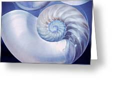 Seashell. Blue Version  Greeting Card by Jenny Rainbow