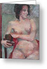 Seated Nude Greeting Card by Susanne Clark