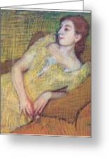 Seated Woman In A Yellow Dress Greeting Card by Edgar Degas
