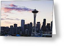 Seattle Skyline At Dusk Greeting Card by Jeremy Woodhouse