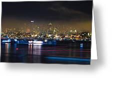 Seattle Skyline Firework Panorama Greeting Card by Dmitry Grekov