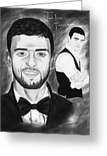 Secret Agent Justin Timberlake Greeting Card by Pierre Louis