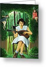Secret Garden Fantasy Fairy Greeting Card by Linda Apple