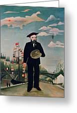 Self Portrait From Lile Saint Louis Greeting Card by Henri Rousseau
