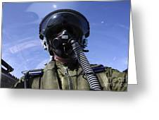 Self-portrait Of A Pilot Flying Greeting Card by Daniel Karlsson