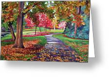 September Park Greeting Card by David Lloyd Glover
