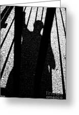 Shadow Of Man Behind Bars Greeting Card by Sami Sarkis