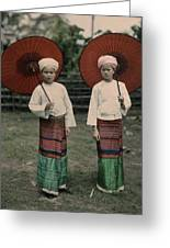 Shan Women Wearing Traditional Colorful Greeting Card by W. Robert Moore