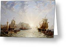 Shipping Off Scarborough Greeting Card by John Wilson Carmichael