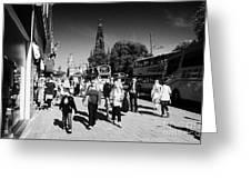 Shoppers And Tourists On Princes Street Edinburgh Scotland Uk United Kingdom Greeting Card by Joe Fox