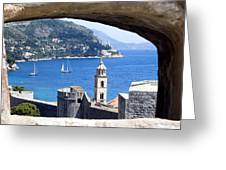 Shore From Castle Window Greeting Card by Roman Anuchkin
