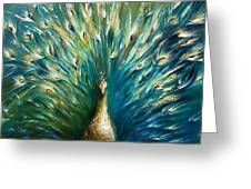 Showoff 3  White Peacock Greeting Card by Dina Dargo