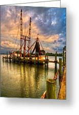 Shrimp Boat At Sunset Greeting Card by Debra and Dave Vanderlaan