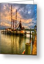 Shrimp Boat At Sunset Greeting Card by Debra and Dave Vanderlaan