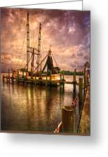 Shrimp Boat At Sunset II Greeting Card by Debra and Dave Vanderlaan