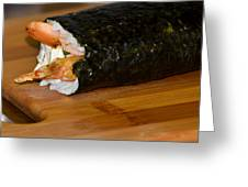 Shrimp Sushi Roll On Cutting Board Greeting Card by Carolyn Marshall