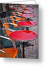 Sidewalk Cafe In Paris Greeting Card by Elena Elisseeva
