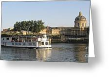 Sightseeing Boat On River Seine. Paris Greeting Card by Bernard Jaubert