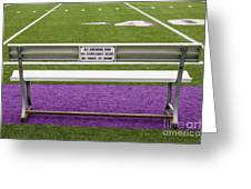 Sign On Athletic Field Bench Greeting Card by Andersen Ross
