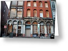 Silent City Store Fronts Greeting Card by Extrospection Art