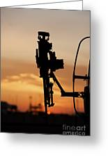 Silhouette Of A M240g Medium Machine Greeting Card by Terry Moore