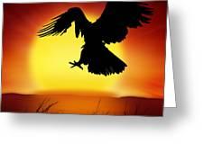 Silhouette Of Eagle Greeting Card by Setsiri Silapasuwanchai
