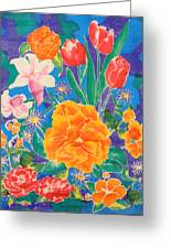 Silk Blooming Flowers Greeting Card by Sandra Fox