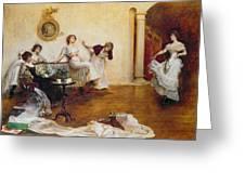 Silks And Satins Greeting Card by Albert Chevallier Tayler