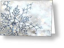 Silver Blue Snowflake  Greeting Card by Sandra Cunningham