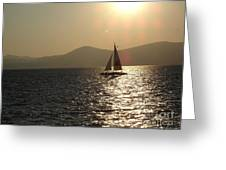 Single Sailboat Greeting Card by Silvie Kendall