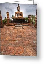 Sitting Buddha Greeting Card by Adrian Evans