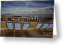 Six Empty Deckchairs Greeting Card by Sheila Smart