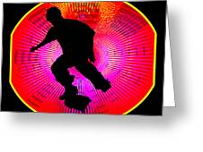 Skateboarding On Fluorescent Starburst Greeting Card by Elaine Plesser